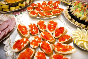food at banquet table