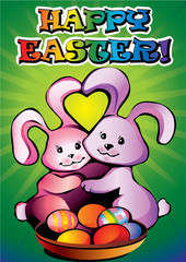 two easter bunnies with paschal eggs