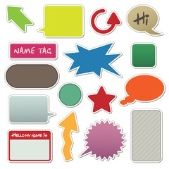 stickers with arrows, speech bubbles and text boxes