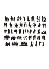 vector silhouettes of realistic people