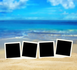 polaroid fotos on the beach