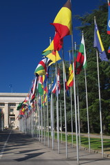 international flags in row
