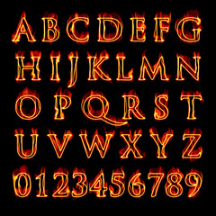 Flaming Alphabet and Numbers