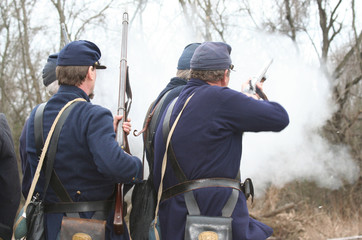 Union Soldiers Firing  At Confederate Civil War Rebels