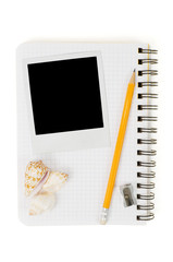 Spiral notepad and black instant photo print
