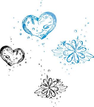 Eiswürfel, ice cube (Herzen und Blumen)