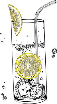 Glas Wasser mit Zitrone und Eiswürfeln