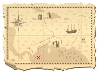 Vector illustration of the pirate map searching hidden treasure