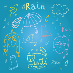 Summer rainy day vector design