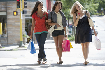 Young women on a shopping trip texting
