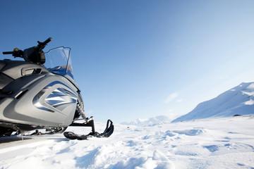 Printed kitchen splashbacks Pole Snowmobile Winter Landscape