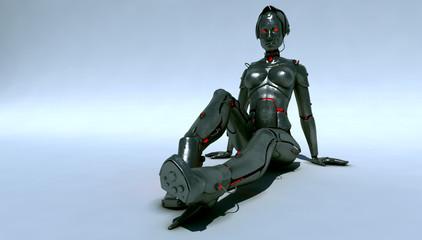 Relaxing cyborg-woman