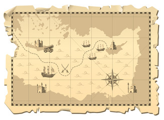 Vector illustration of a battleship war map