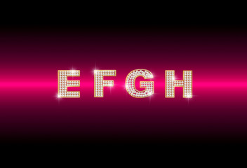 diamond letters E F G H on red background