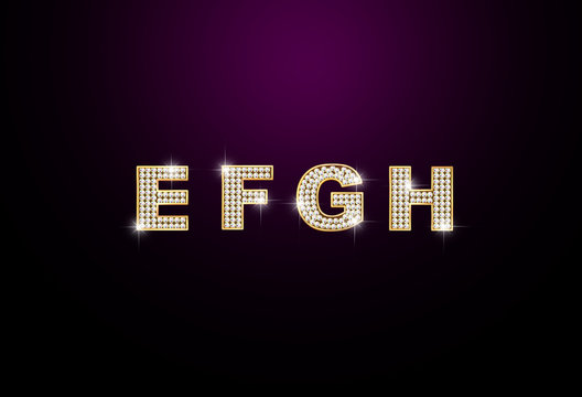 diamond letters E F G H on black background