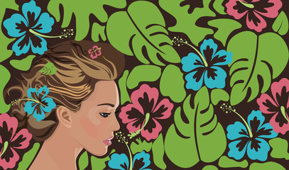 background with girl, hibiscus and palm leaves