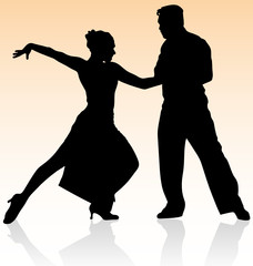 Vector silhouette of couple dancing tango on warm color.