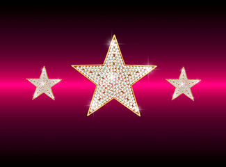diamond stars on red background