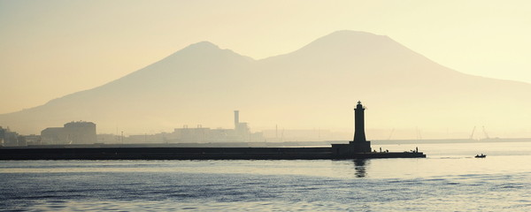 Lighthouse with Mount Vesuvius