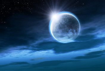 Moon with Rising Sun