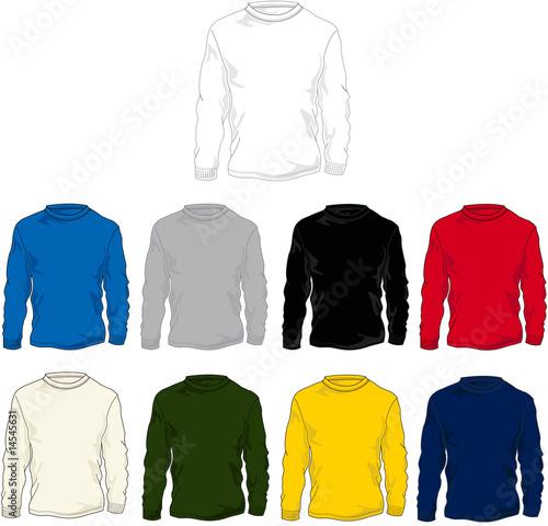 Long Sleeve T Shirt Template Vector