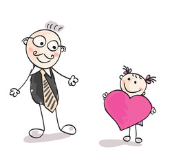 Small girl is giving big heart to father. Vector Illustration.