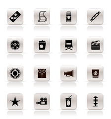 Simple Cinema and Movie Icons - vector icon set