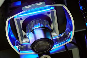 Vierquadranten-Ringlicht und Messobjektiv