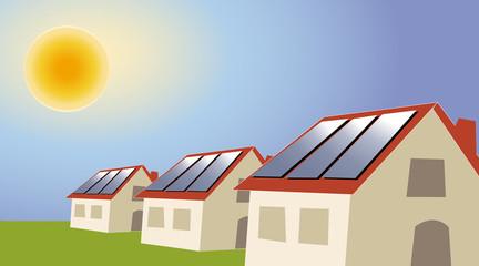 Energies renouvelable-lotissement maisons à panneaux solaire