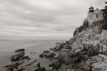 Bass Harbor lighthouse on Maine coast