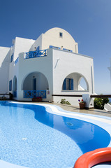 swimming pool greek cyclades architecture imerovigli