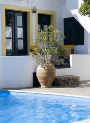 swimming pool greek cyclades architecture imerovigli