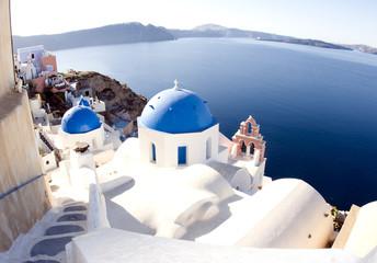santorini greek island scene classic blue dome churches