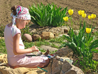 young painter outdoor