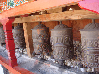 Prayer wheels in monastery