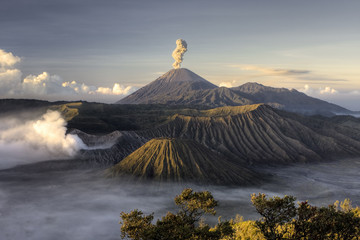 Mount Bromo volcano after eruption, Java, Indonesia