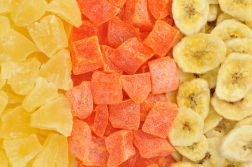 Exotic dried fruits background