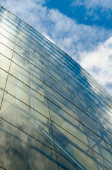Glass facade of building.