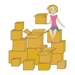 femme carton déménagement