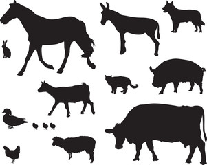 a set of farm animals
