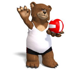 funny bear plays volleyball