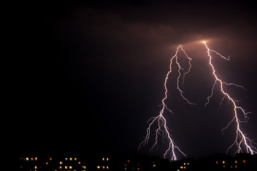 Lightning a thunder-storm, nightly cloudy sky