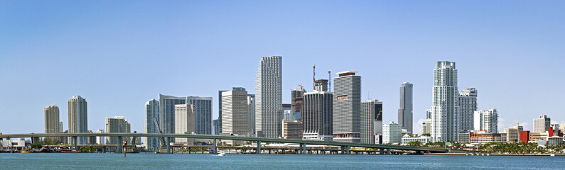 Panorama of Miami urban architecture with buildings and bridge