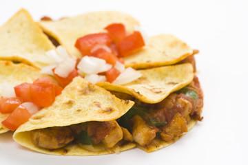 delicious chicken quesadilla and fresh vegetables