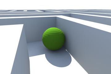 White labyrinth end green sphere