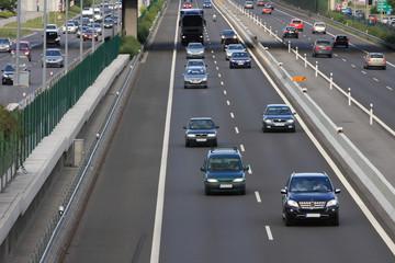 Highway traffic going through Bratislava