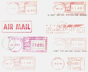 USA, old, red postmarks background