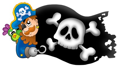 Photo sur Toile Pirates Lurking pirate with banner