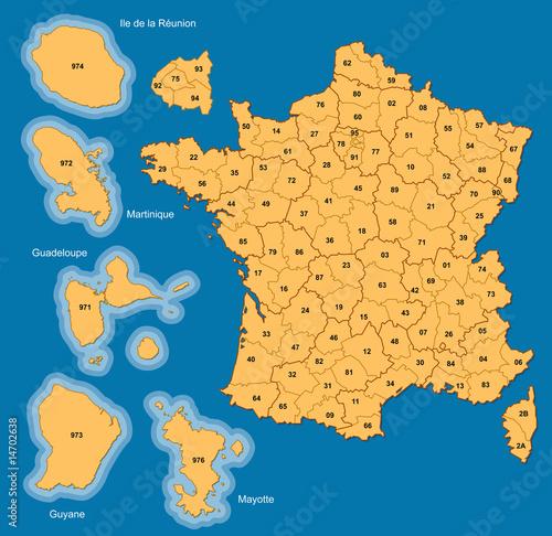 Carte France métropolitaine, DOM et Mayotte