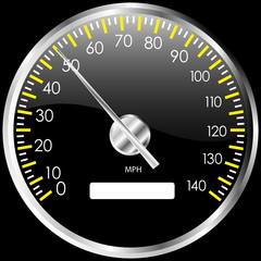 Chrome speedometer. Vector design element.